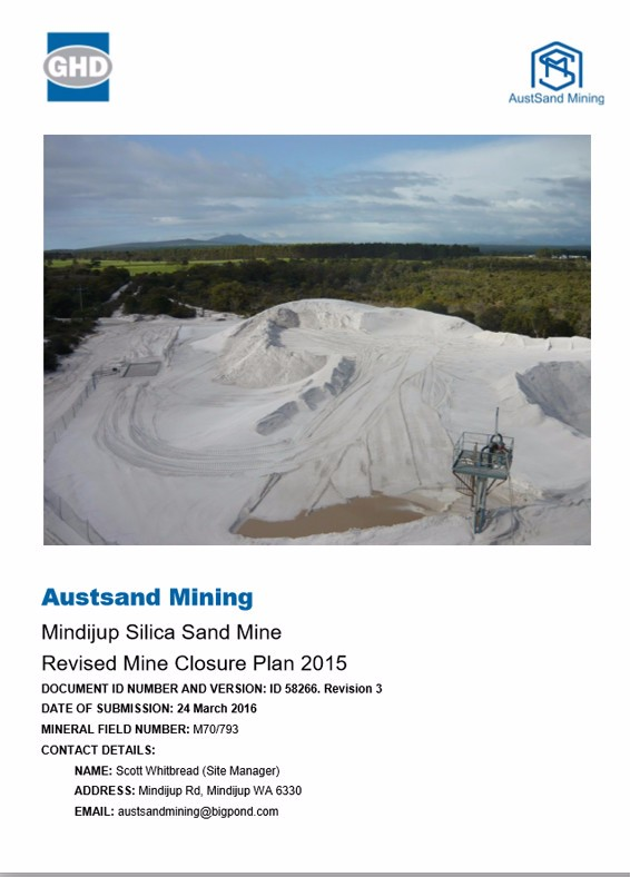 Mindijup – Revised Mine Closure Plan 2015