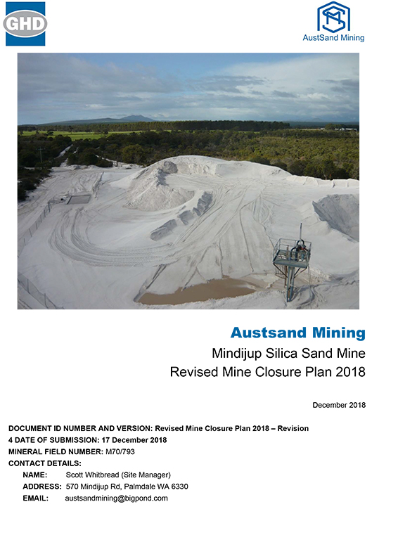 Mindijup – Revised Mine Closure Plan 2018